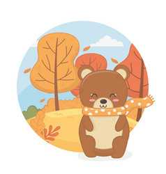 cute animal autumn season flat design vector image