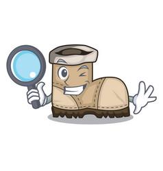 Detective working boot in shape cartoon beautiful vector