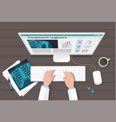 doctors table workplace medicine concept vector image