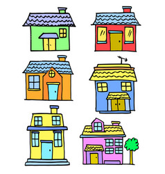 doodle of house set design cartoon vector image