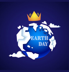 earth day card with planet in golden crown vector image
