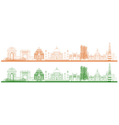famous indian monument and landmark like taj mahal vector image