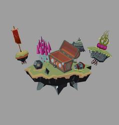 fantasy landscape empty treasure chest video game vector image