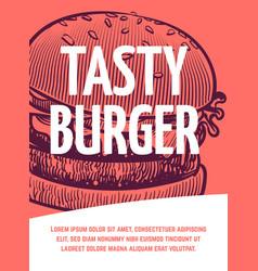 fast food flyer tasty burger restaurant or vector image