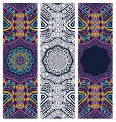 festive colorful ethnic bohemia banner set vector image