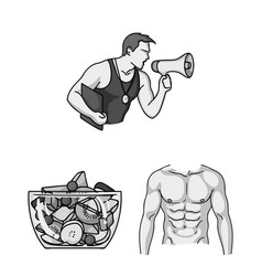 Fitness and attributes monochrome icons in set vector