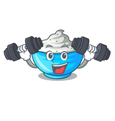 Fitness sour cream in a glass bowl cartoon vector