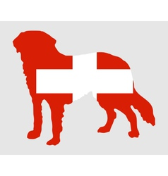 Flag of Switzerland with Saint Bernard vector image