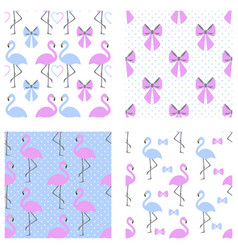 Flamingo seamless pattern set vector