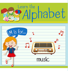 Flashcard letter M is for music vector image