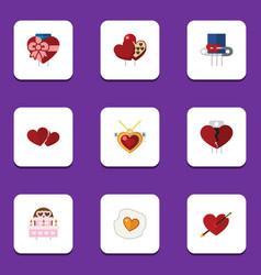 Flat icon passion set of patisserie shaped box vector
