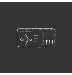 Flight ticket Drawn in chalk icon vector