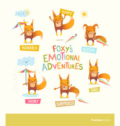 Foxy s emotional adventures cute cartoon fox in vector