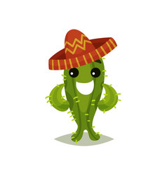 funny green cactus in mexican sombrero humanized vector image