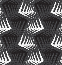 Geometrical ornament with black and white rough vector image