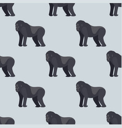 Gorila monkey rare animal seamless pattern vector