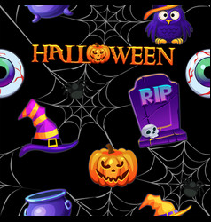 halloween seamless pattern black scary background vector image