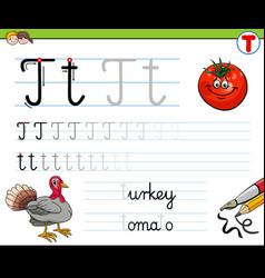How to write letter t worksheet for kids vector
