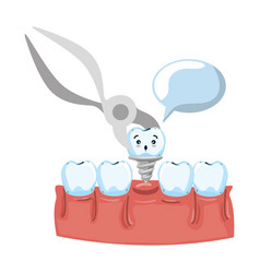 Human teeth with pliers extracting implant vector