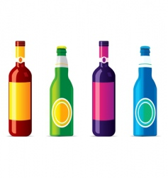 Isolated alcohol bottles no transparency and vector