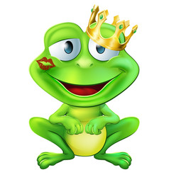 Kissed frog prince vector