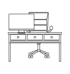 line office desk with drawers and computer screen vector image