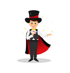 Magician with hat and playing cards vector