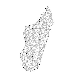 Map of madagascar from polygonal black lines and vector