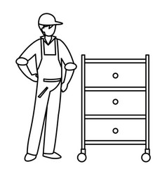 Mechanic worker with metallic drawer vector