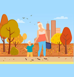 mother and son toddler walk city park autumn trees vector image
