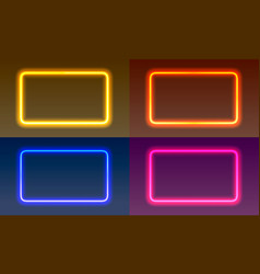 neon frame sign in shape a square vector image