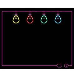 neon light bulb vector image