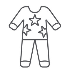 Pajamas thin line icon clothes and nightwear vector