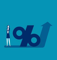 Percentage symbol on arrow pointing upwards vector