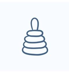 Pyramid toy sketch icon vector image