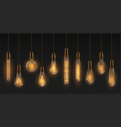 realistic light bulb electric incandescent lamps vector image