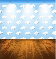 Room with clouds vector image