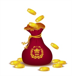 Royal bag with gold coins vector image vector image