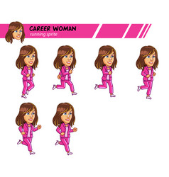 Running career woman game sprite vector