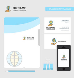 Safe world business logo file cover visiting card vector