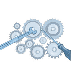 screwdriver and wrench and gears vector image