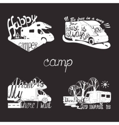 Set lettering travel typographic camp vector