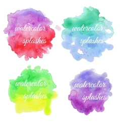 Set of colorful brush splatters vector