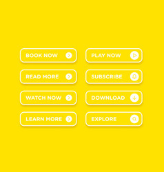 Set of colorful white clean style buttons with vector