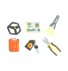 Set of different truck driver job related items vector