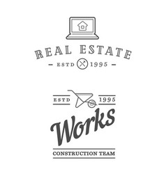 Set of real estate construction building icons vector