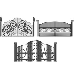 Set wrought iron gates and gates made metal vector
