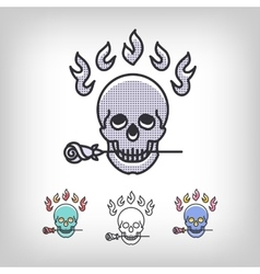 skull logotype design set line art icon vector image