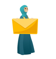 Smiling business woman holding a big envelope vector