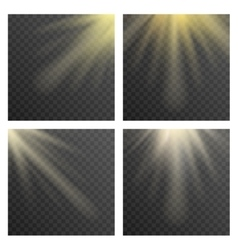 Sun beams or rays on transparent checkered vector image